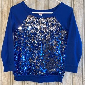 💕3/$15 💕Justice Glittery Sequins 3/4 Sleeve Top